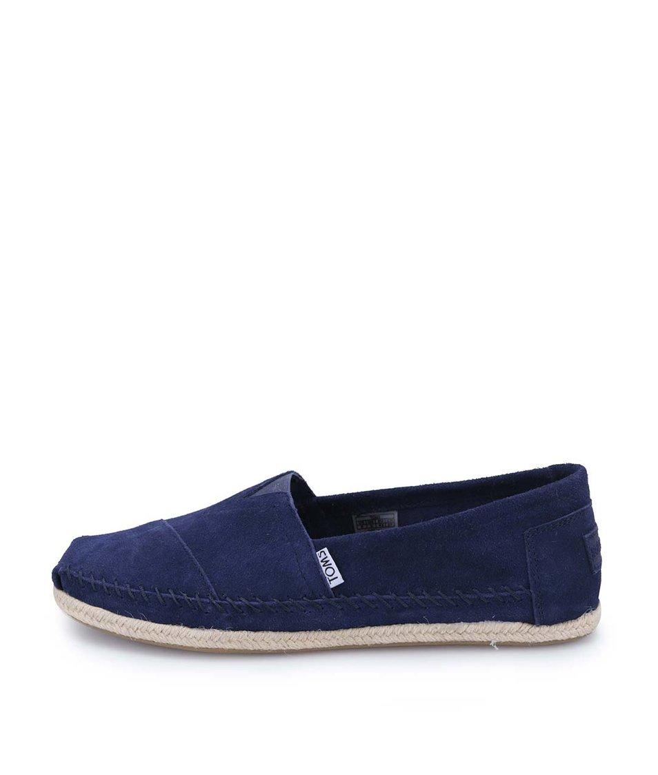 Tmavě modré pánské kožené loafers s prošíváním Toms