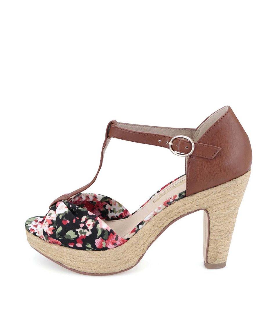Hnědé kožené boty na podpatku s květinami Tamaris