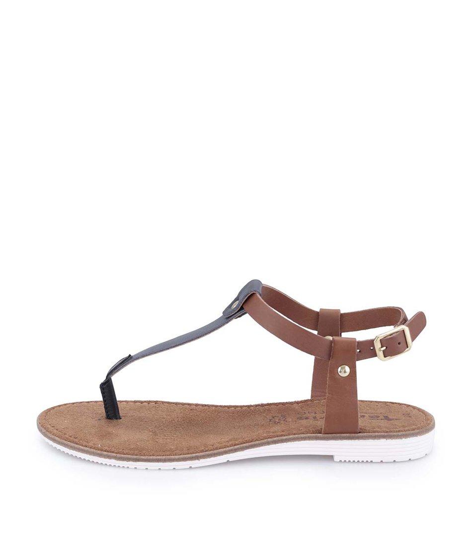 Černo-hnědé kožené sandálky Tamaris