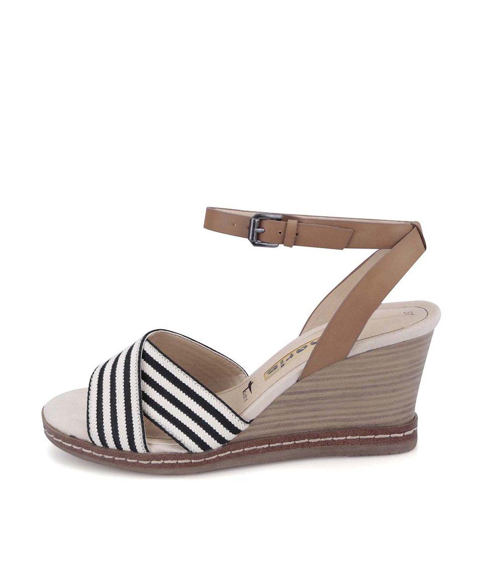 Černo-béžové sandálky na klínu Tamaris