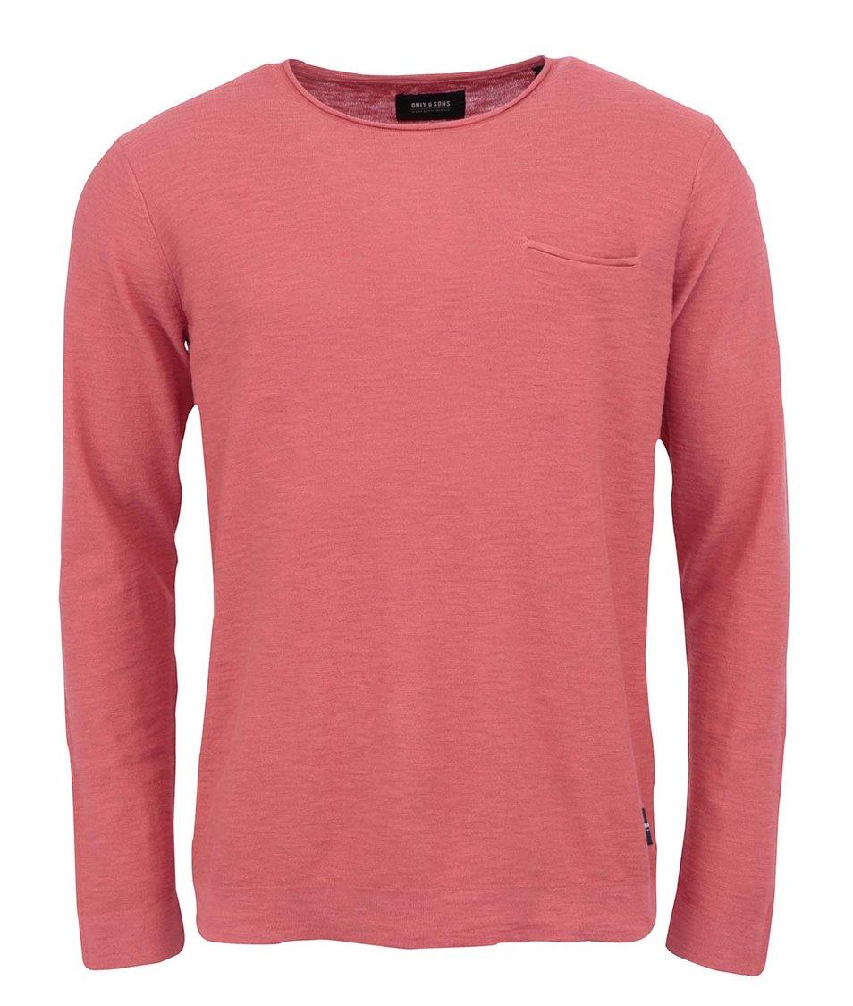 Červený žíhaný svetr ONLY & SONS Ian