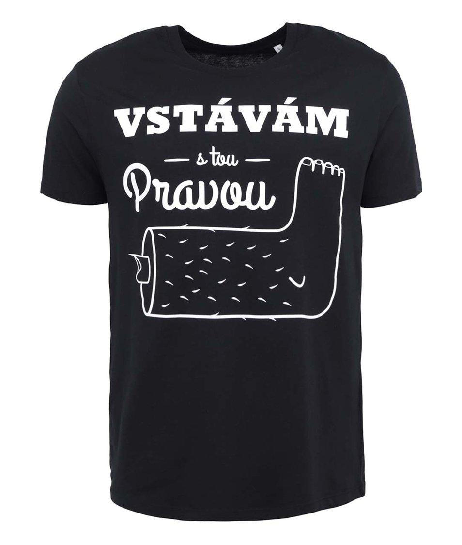 Černé pánské triko ZOOT Lokál Vstávám s tou pravou