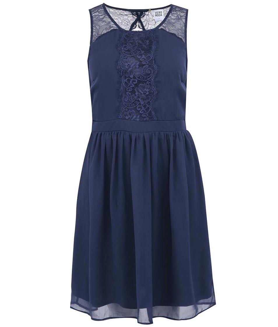 Tmavě modré šaty s krajkou Vero Moda Sissy