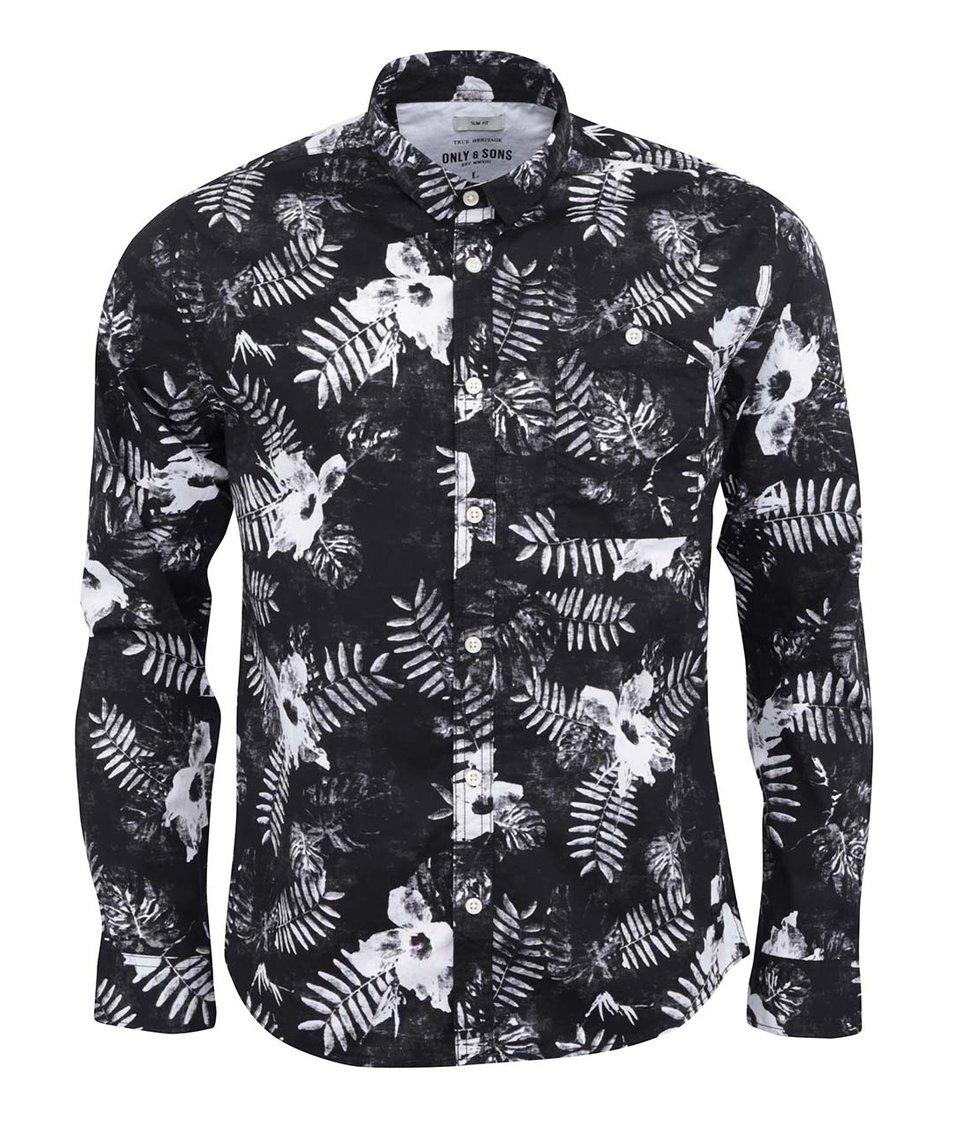 Černá košile s bílým vzorem ONLY & SONS Villy