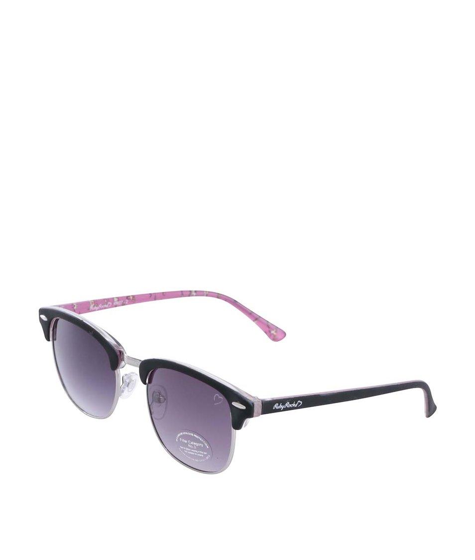 Růžovo-černé sluneční brýle se vzorovanými nožičkami Ruby Rocks