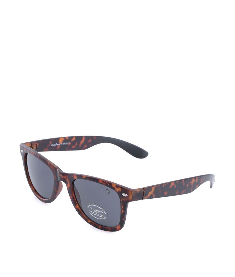 Černo-hnědé želvovinové sluneční brýle Ruby Rocks