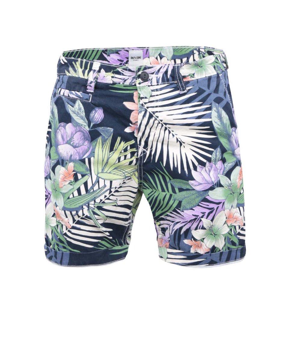 Tmavě modré kraťasy s tropickými květy ONLY & SONS Peyton