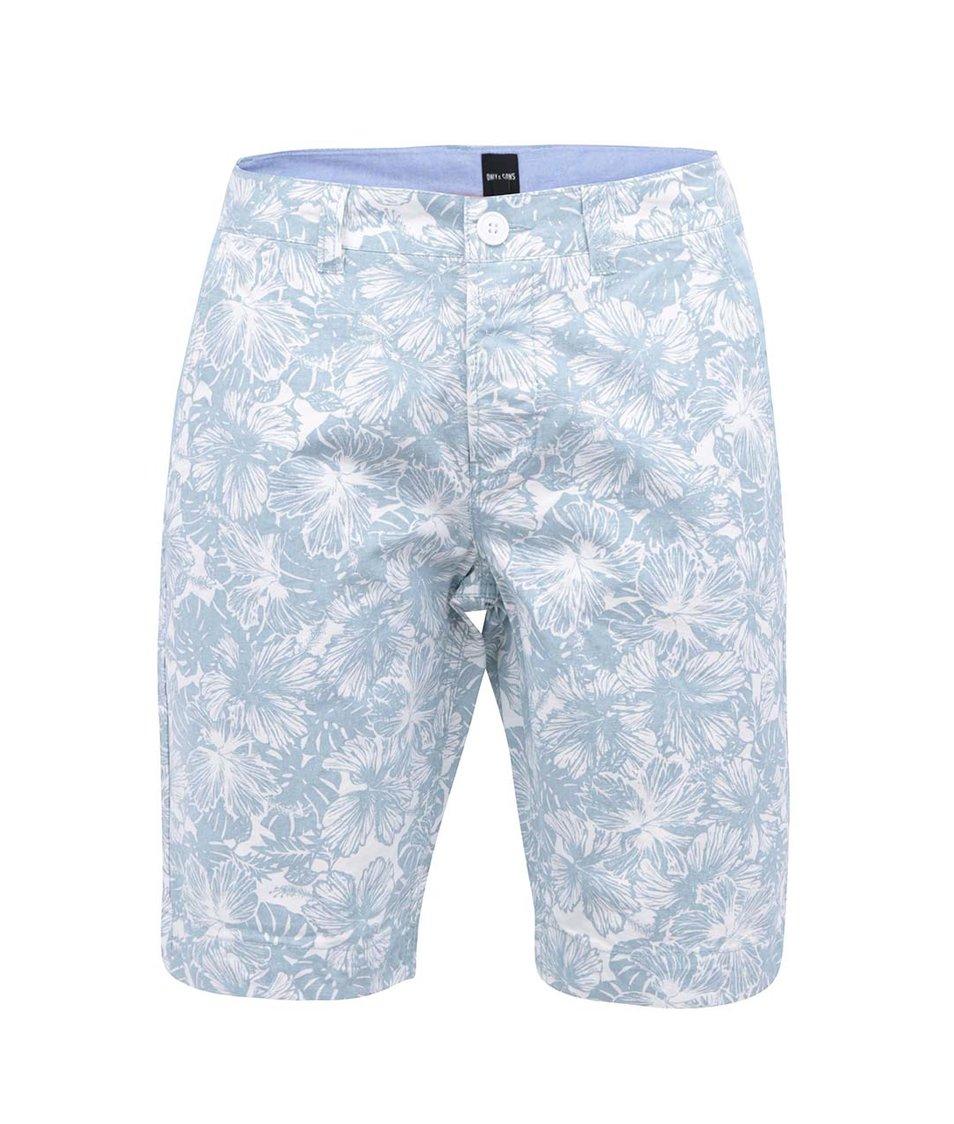Modré delší kraťasy s bílým květovaným vzorem ONLY & SONS Hans
