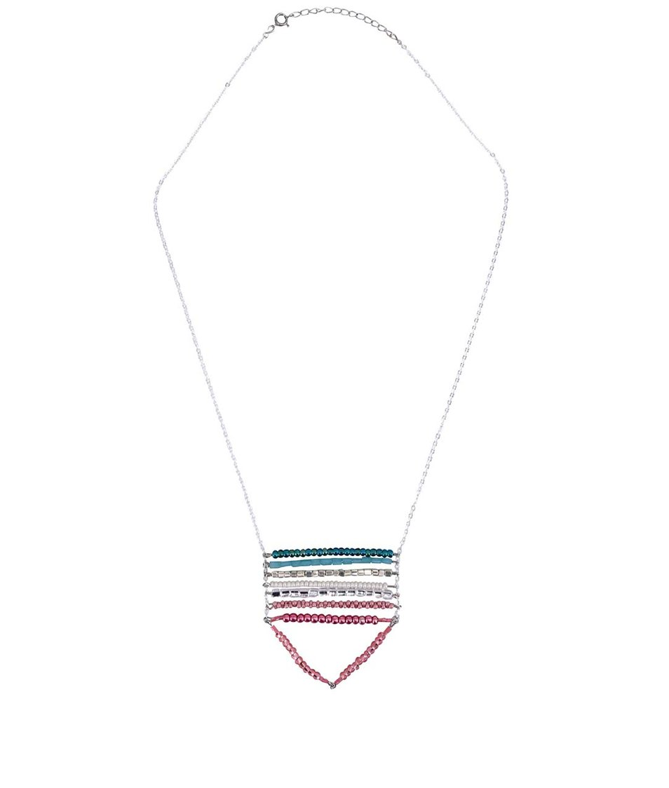 Trojúhelníkový náhrdelník ve stříbrné barvě s barevnými korálky ZOOT Lokál