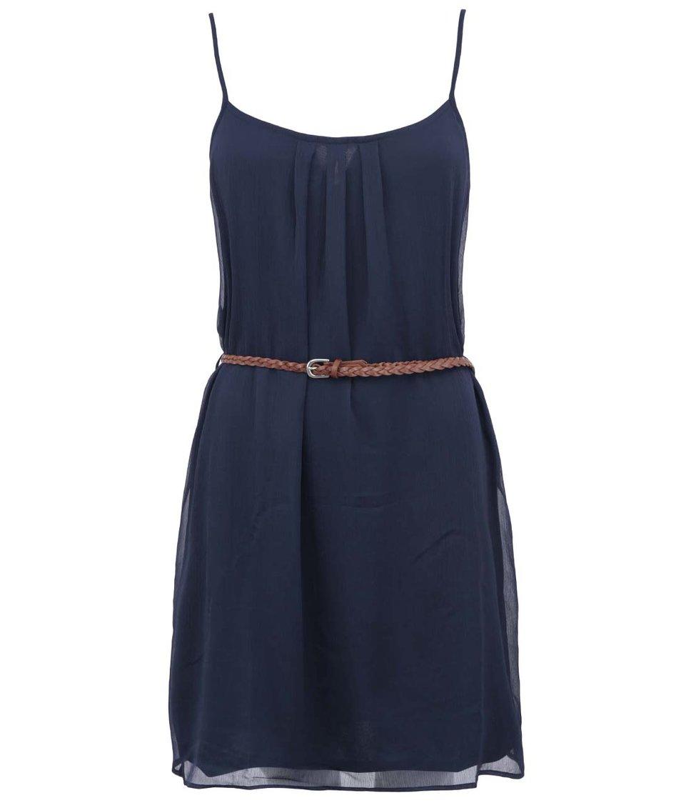 Tmavě modré šaty s páskem ONLY Victoria