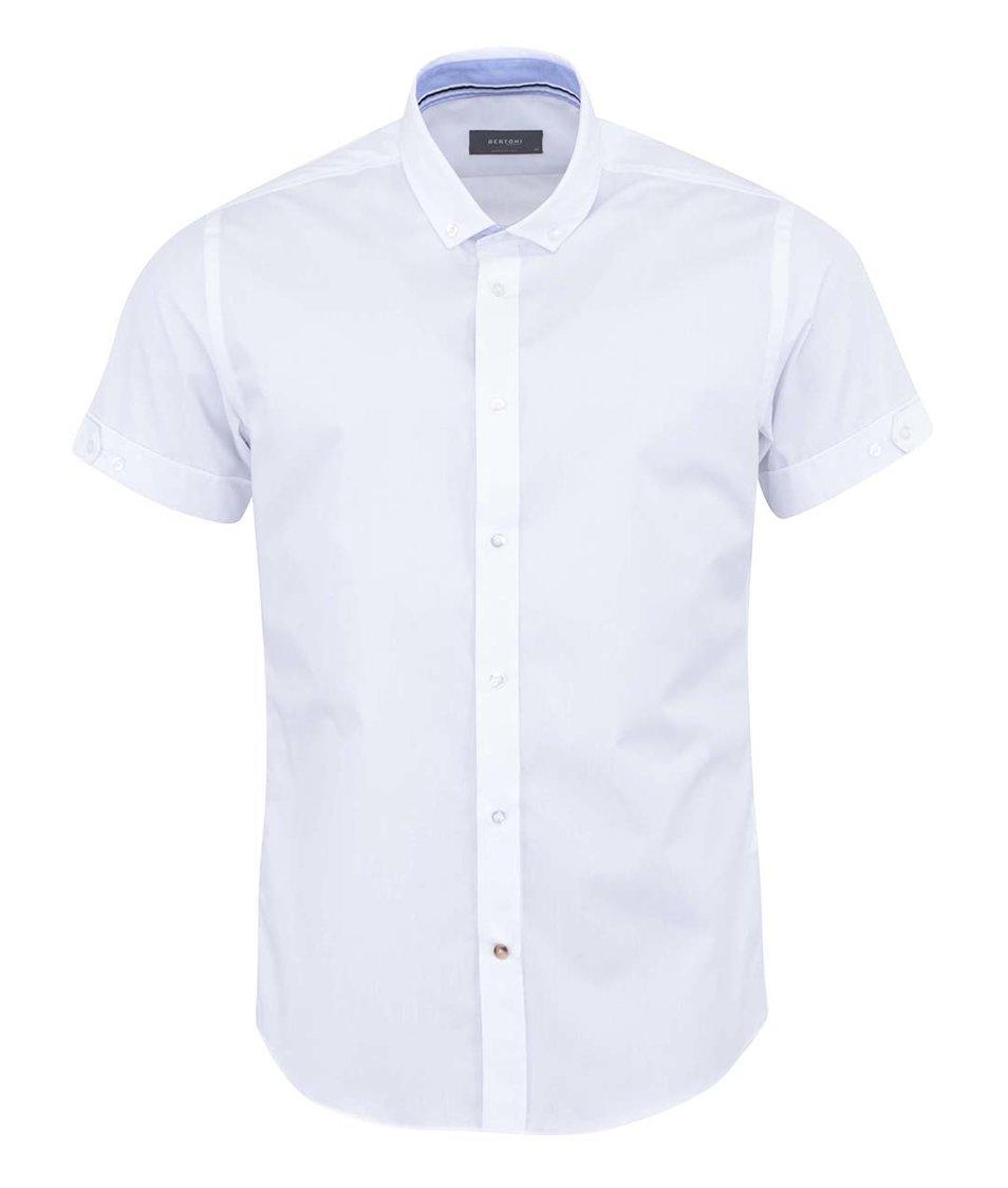 Bílá košile s krátkým rukávem Bertoni Slim Fit