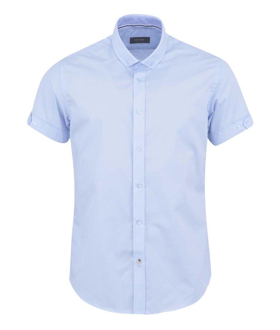 Světle modrá košile s krátkým rukávem Bertoni Slim Fit