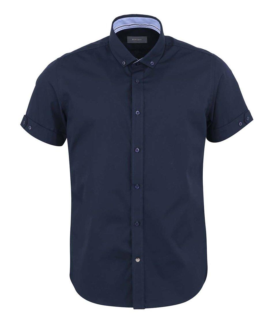 Tmavě modrá košile s krátkým rukávem Bertoni Slim Fit