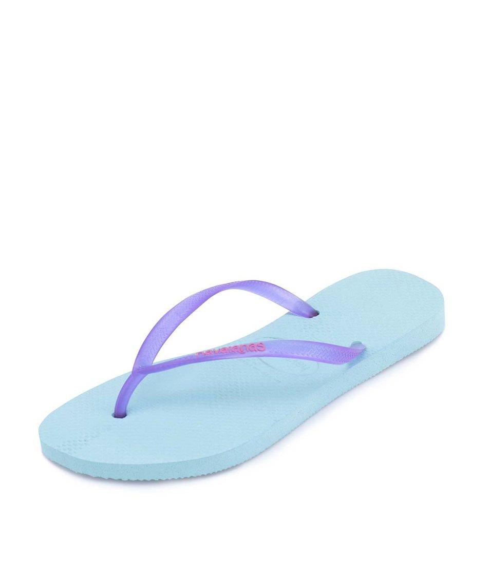 Světle modré dámské žabky Havaianas Slim Logo