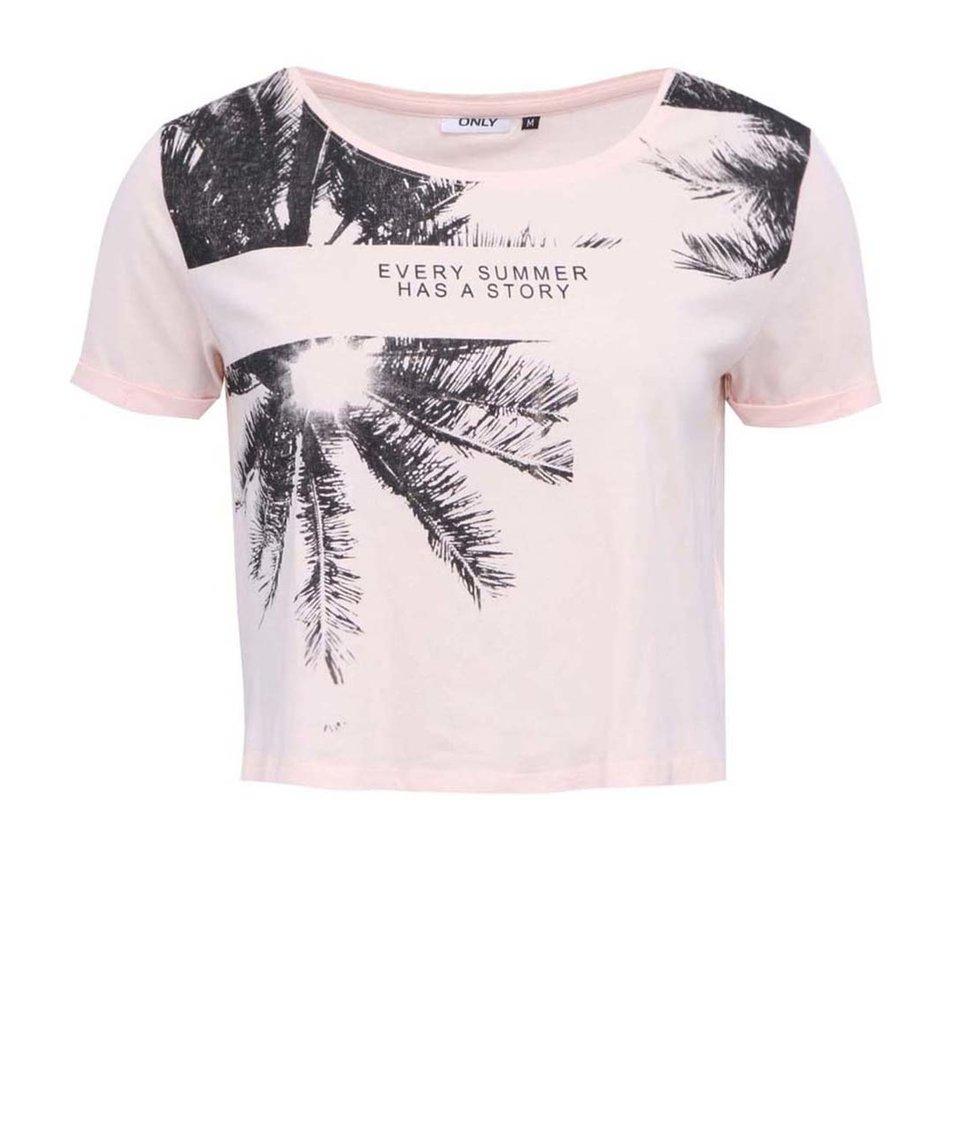 Růžové kratší triko s potiskem ONLY Ella