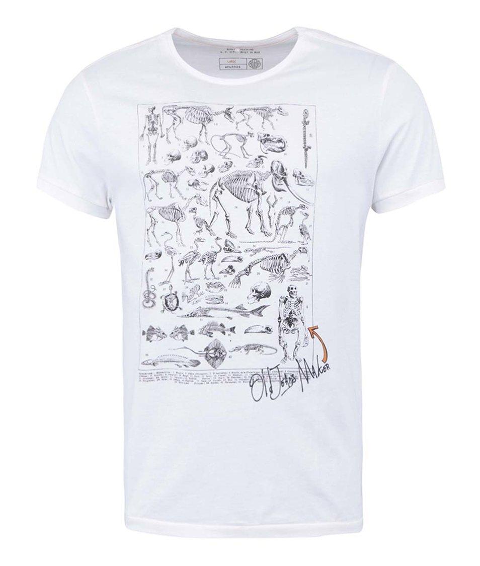 Bílé triko s potiskem Blend Skeleton