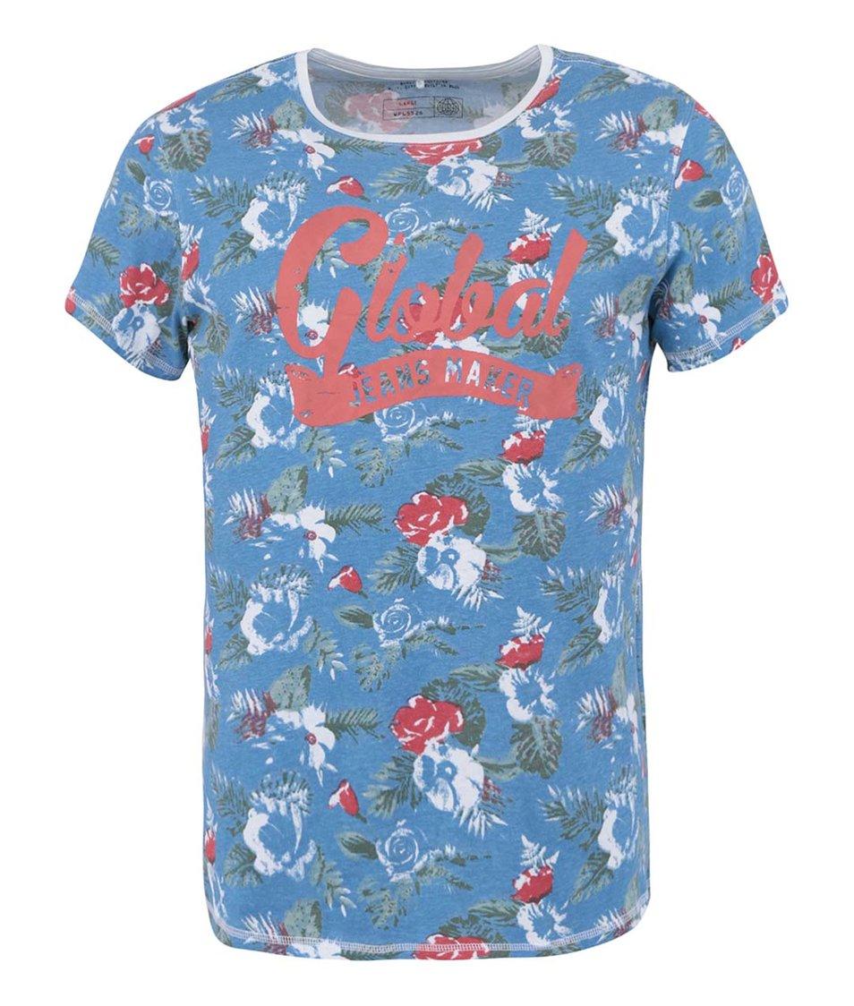 Modré květované triko s nápisem Blend