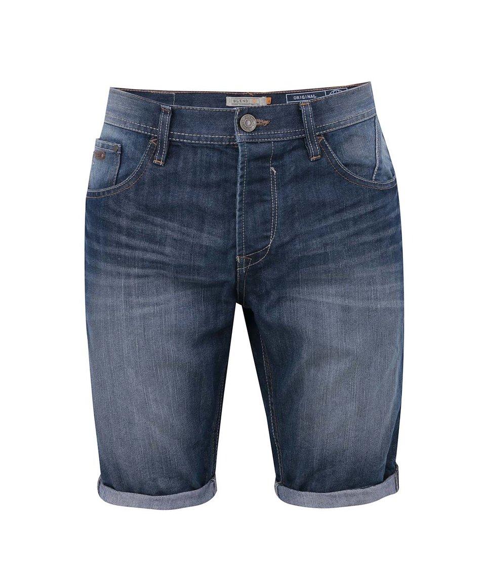 Modré džínové kraťasy s obnošeným efektem Blend