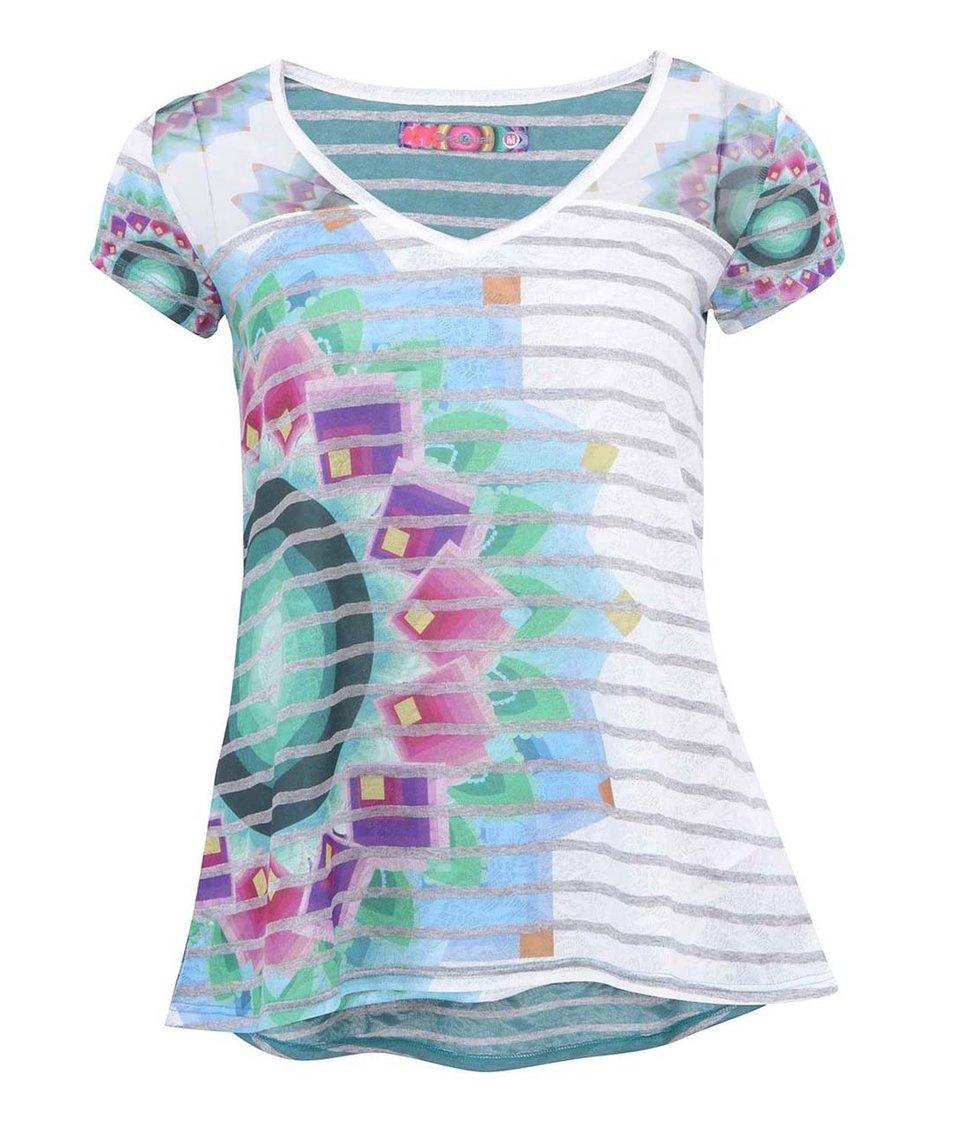 Šedo-bílé pruhované tričko s potiskem Desigual Psicodelic