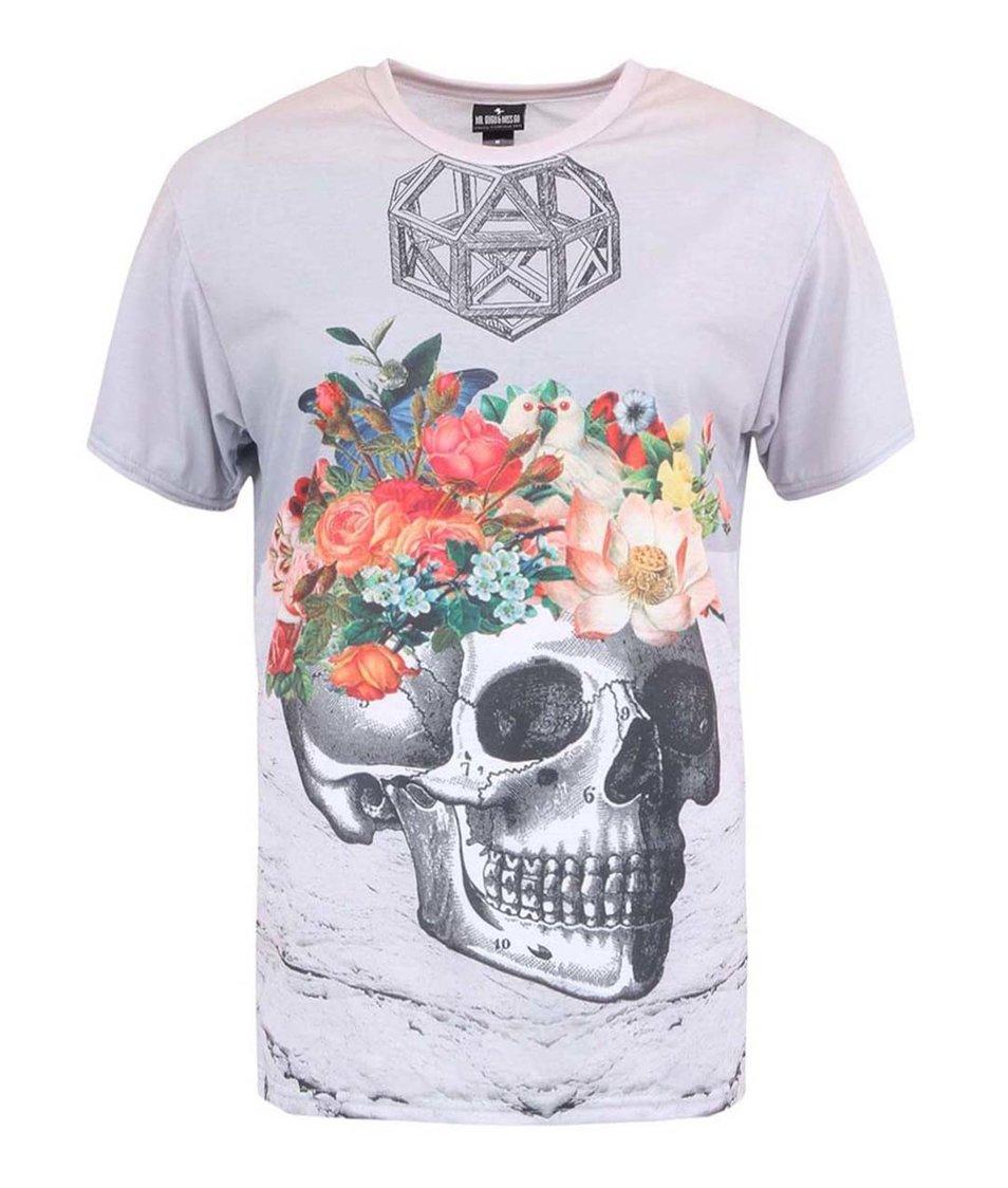 Šedé unisex triko Mr. Gugu & Miss Go Skull