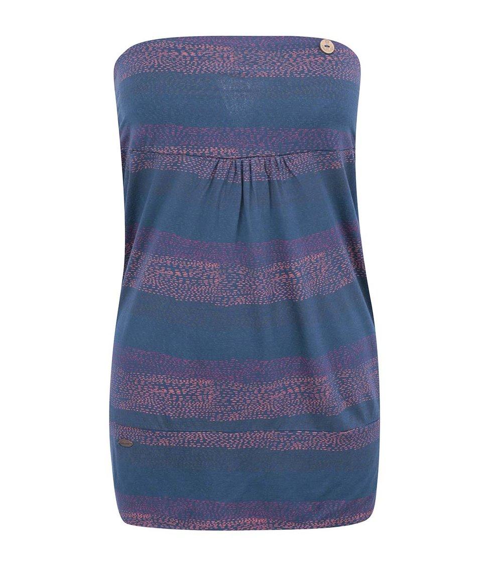 Modrý top s barevnými pruhy Ragwear Shortie