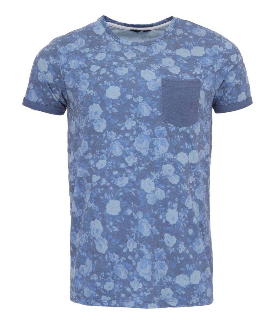Modré tričko s květinovým poiskem a kapsou Jack & Jones Hogan