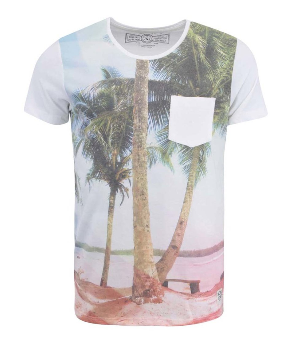 Bílé triko s motivem pláže Jack & Jones Sun