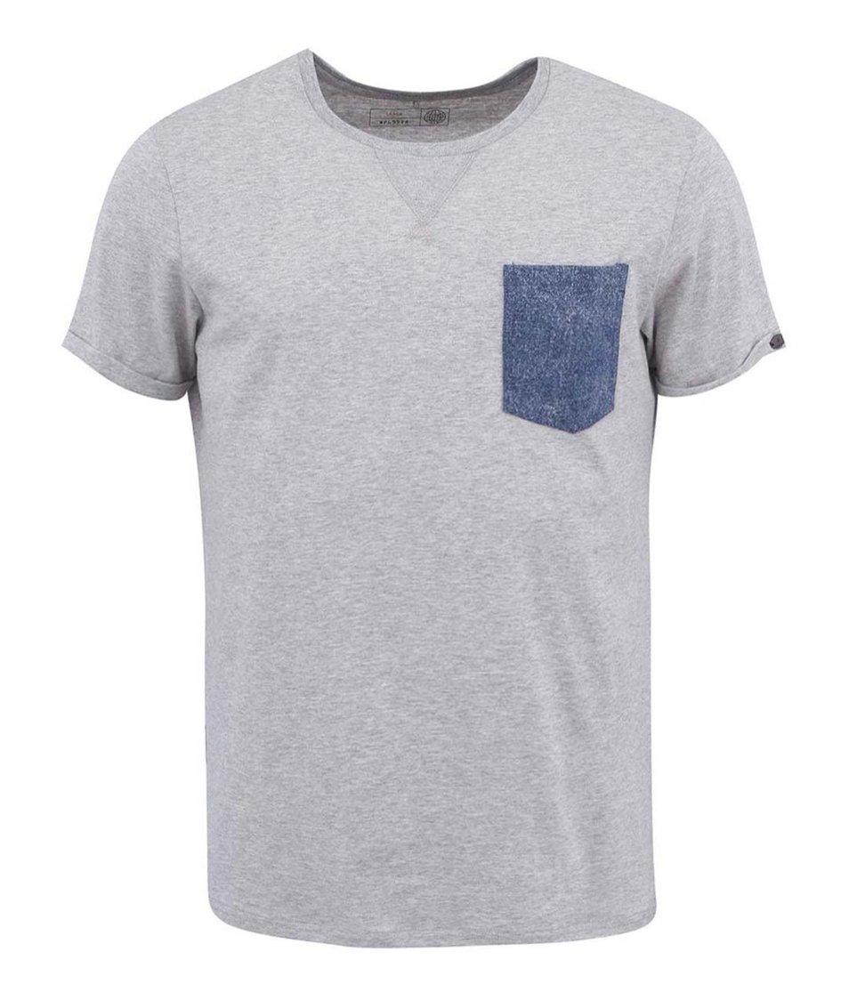 Šedé triko s náprsní kapsou Blend