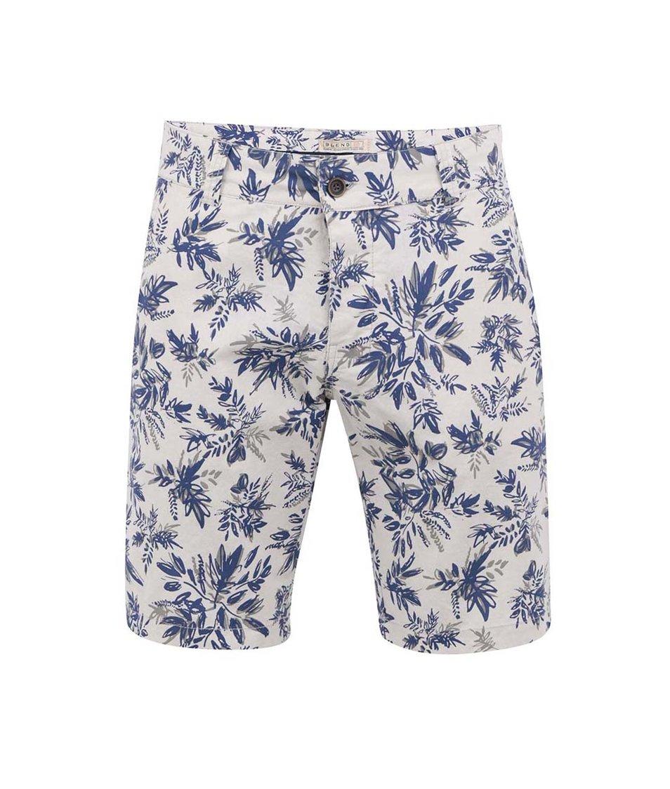 Modro-krémové kraťasy s květy Blend