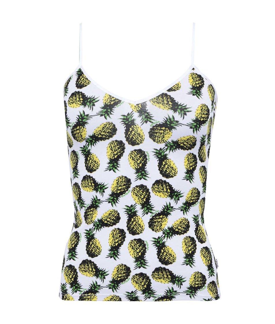 Bílý dámský nátělník s ananasy 69SLAM
