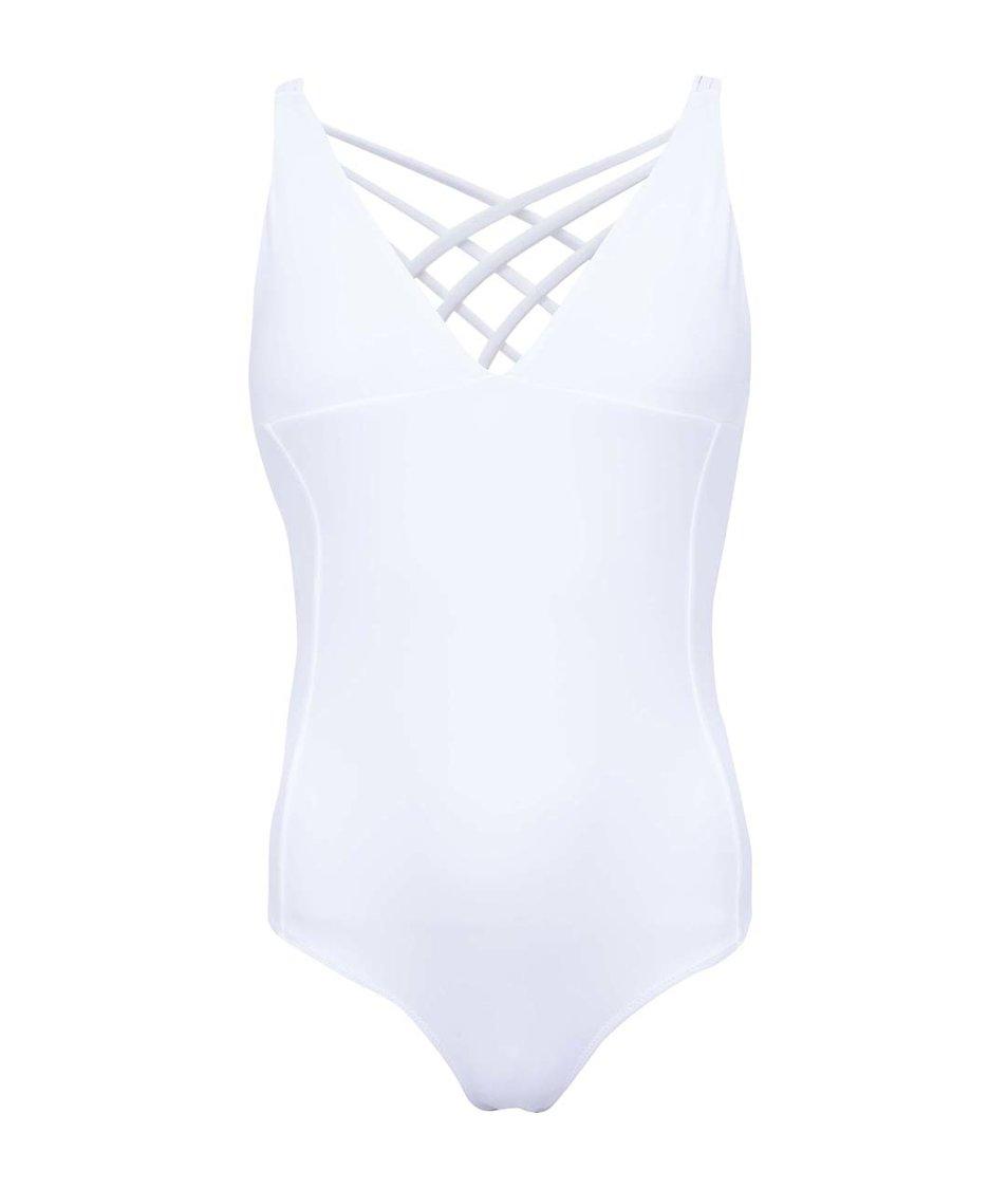 Bílé jednodílné plavky 69SLAM Plain