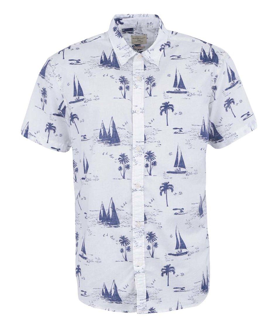 Bílá košile se vzorem Selected Sail Slim Fit