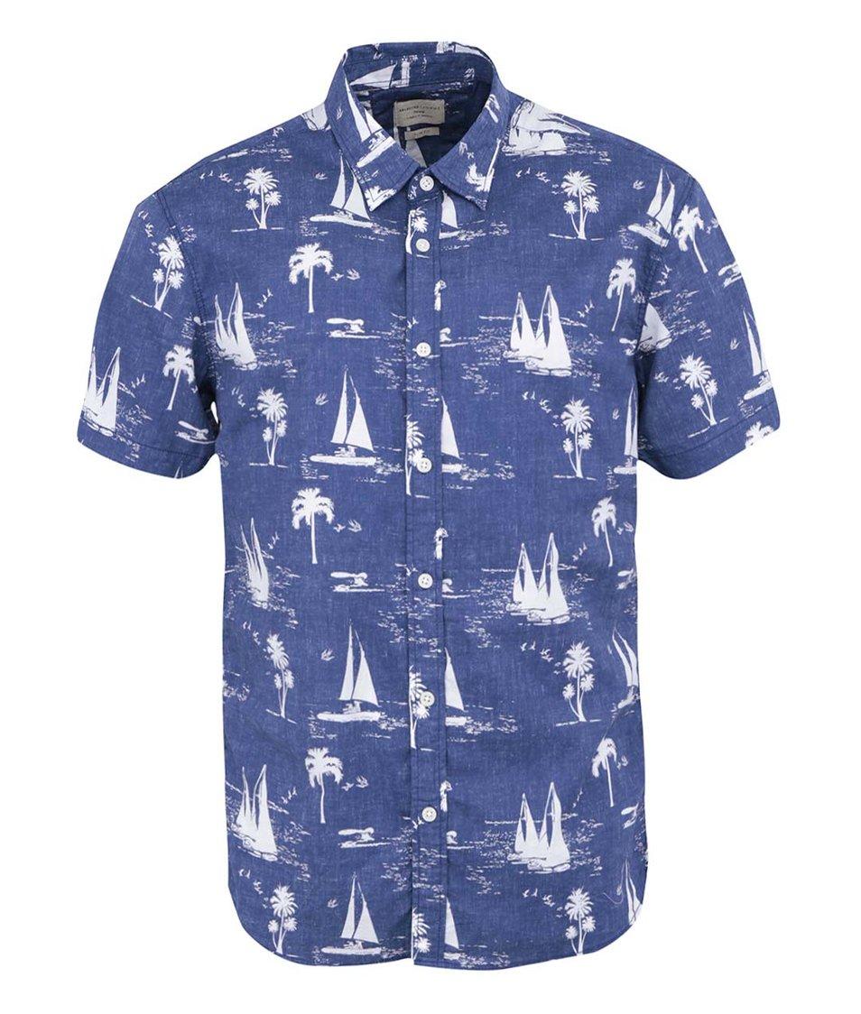 Tmavě modrá košile se vzorem Selected Sail Slim Fit