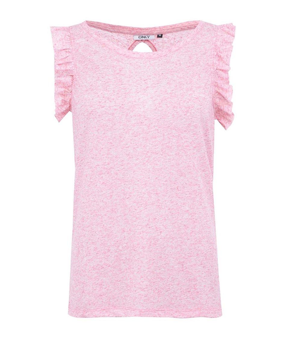 Růžové tričko s volánkovými rukávy ONLY Ruffle