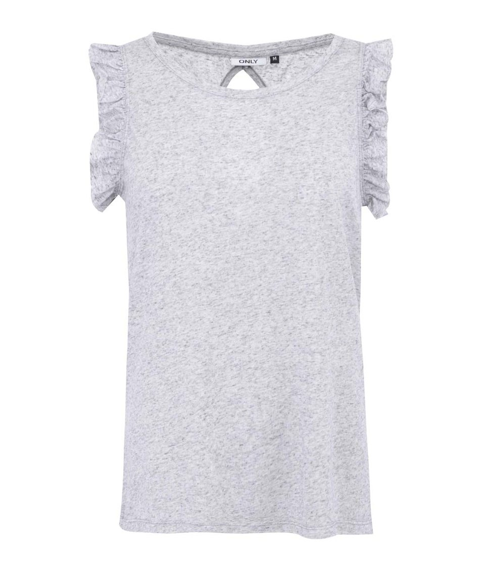 Světle šedé tričko s volánkovými rukávy ONLY Ruffle