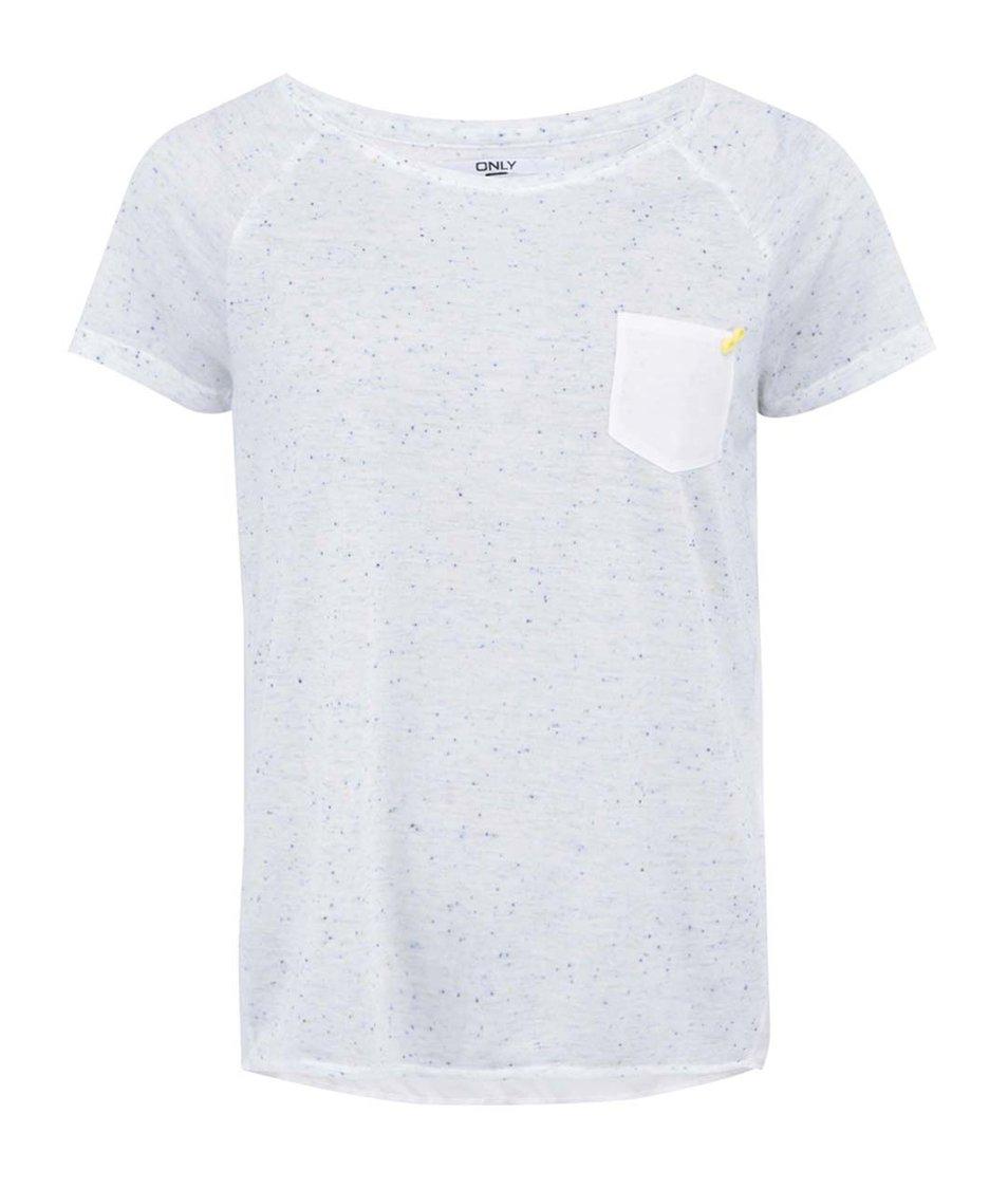 """Krémovo-modré tričko s barevnými """"žmolky"""" ONLY Nippa"""