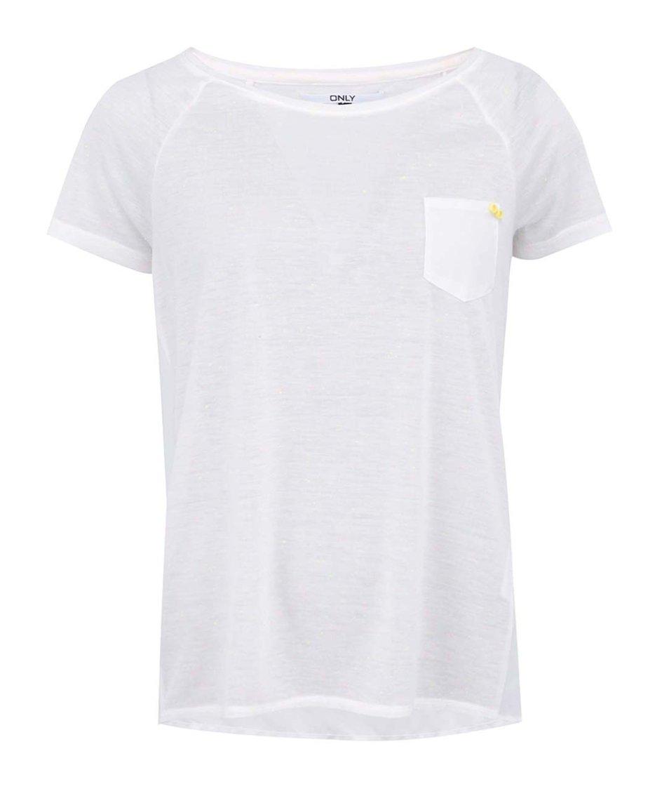 """Krémové tričko s barevnými """"žmolky"""" ONLY Nippa"""