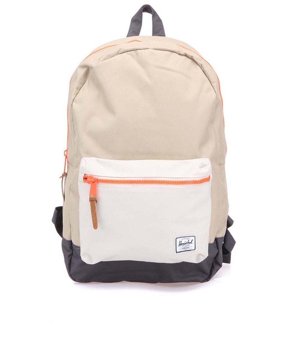Béžový batoh s neonově oranžovým zipem Herschel Settlement