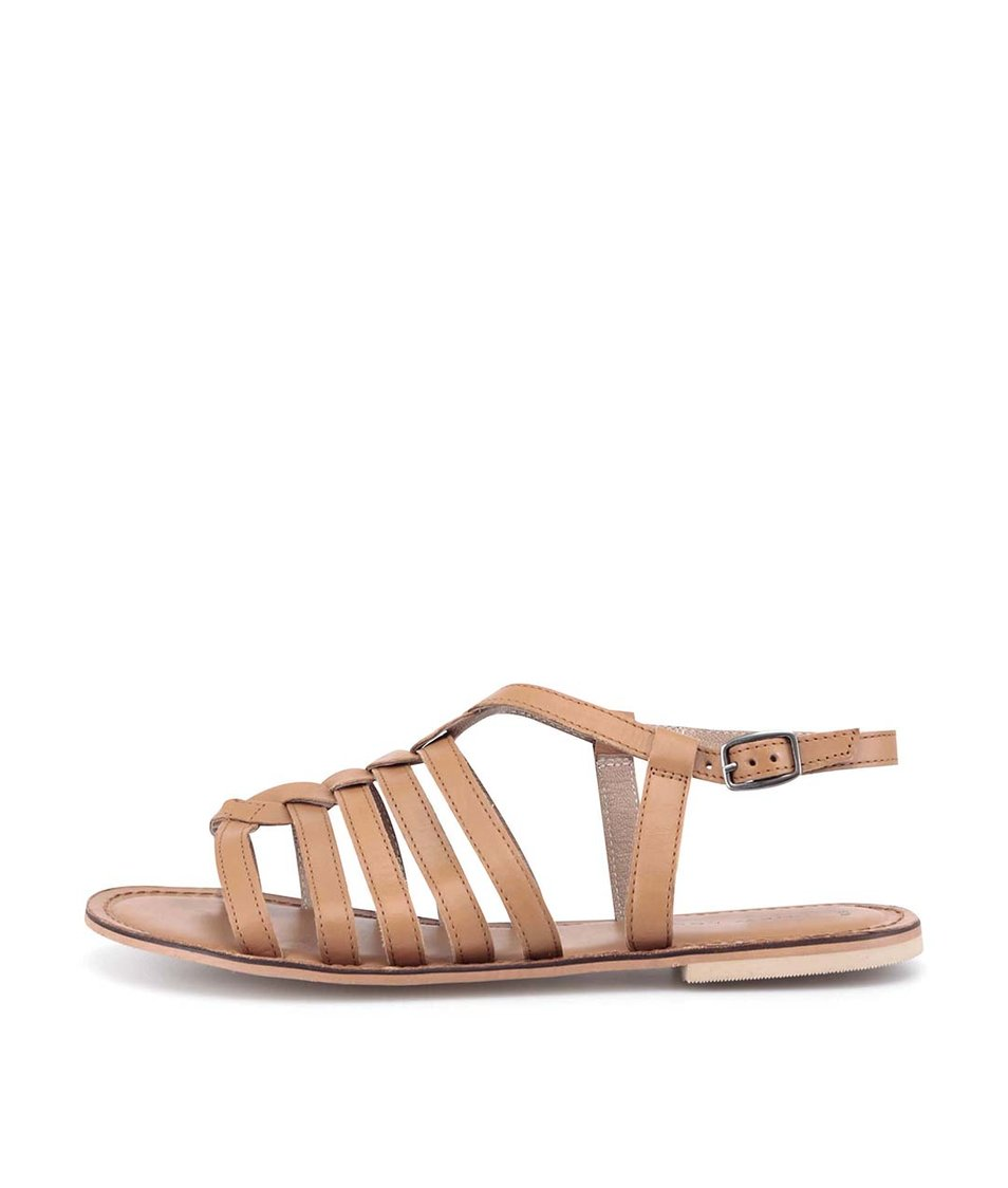 Hnědé kožené sandálky New Look