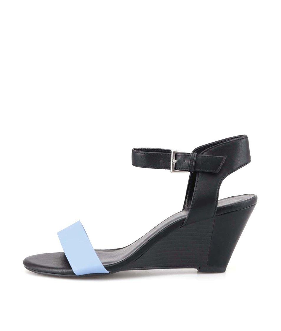 Modro-černé páskové sandálky na klínku New Look