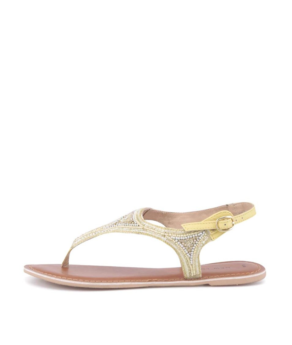 Žluté kožené sandálky s kamínky New Look