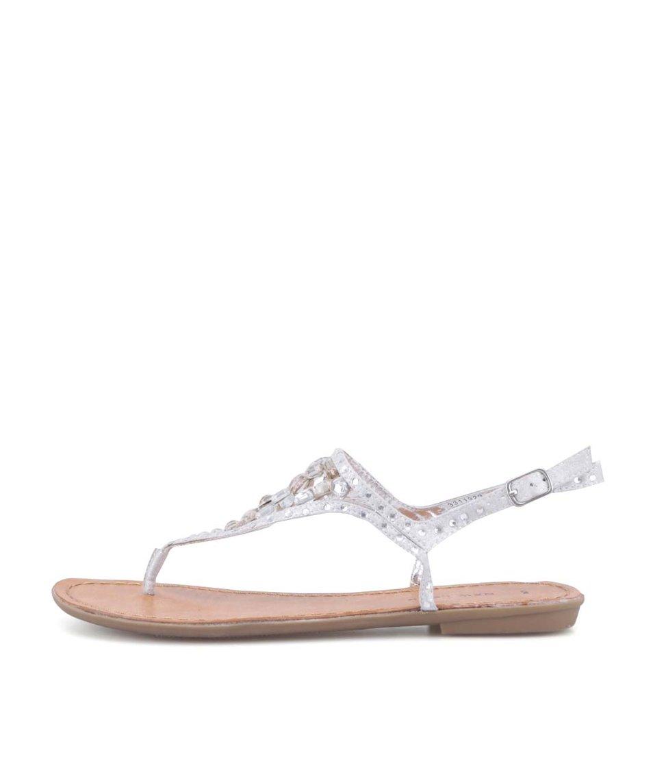 Stříbrné sandálky s kamínky New Look