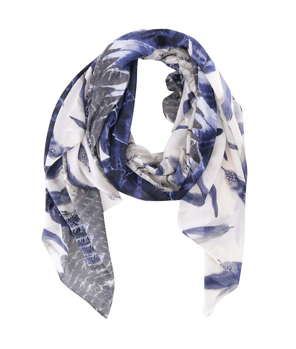 Krémový šátek se vzorem peří Pieces Fulita