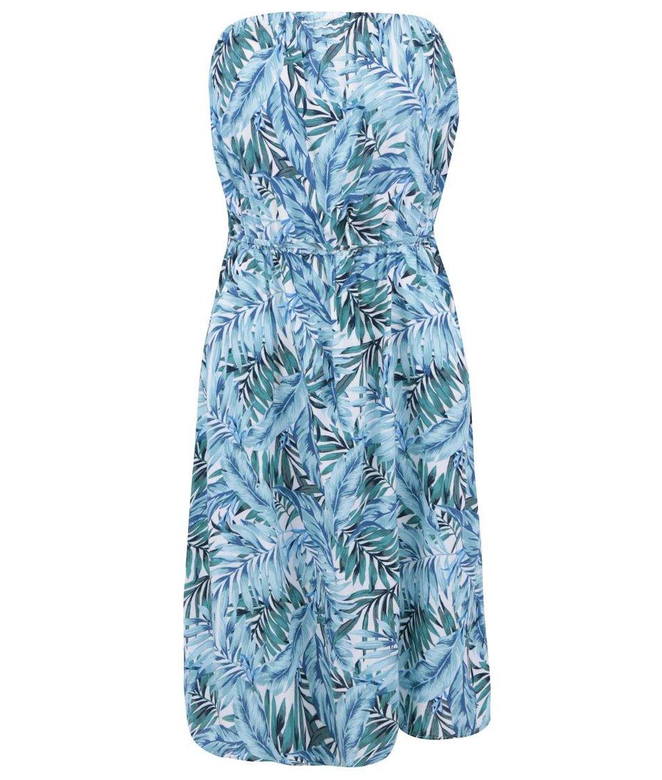 Bílo-tyrkysové šaty s tropickým vzorem New Look