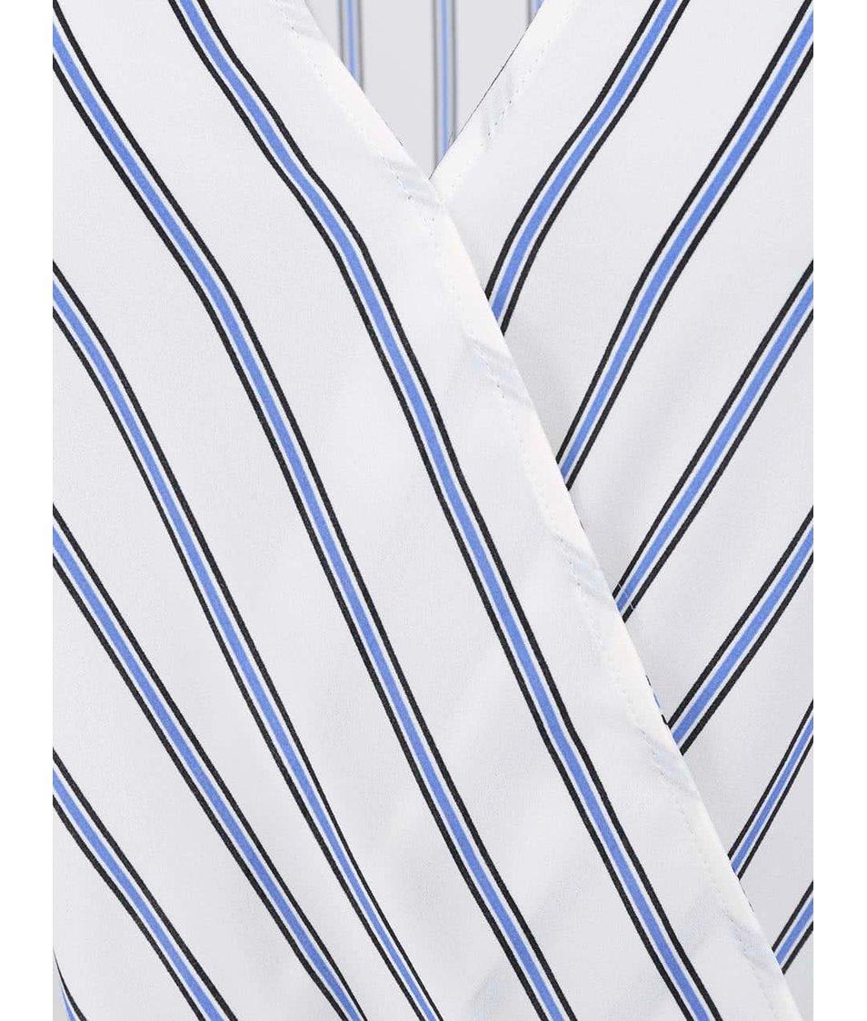 Bílý top s modrými proužky New Look