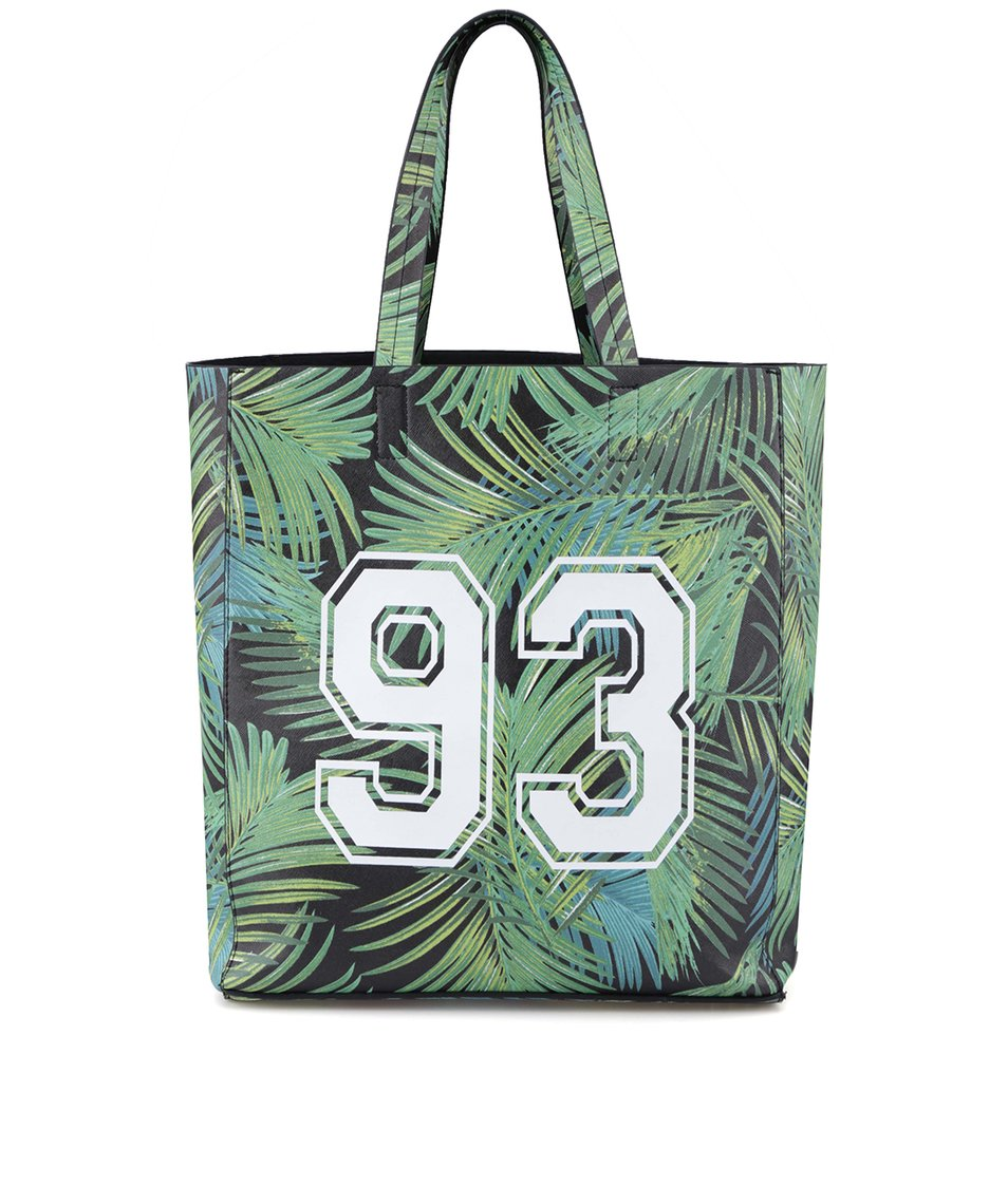 Zelený shopper s palmovým potiskem New Look
