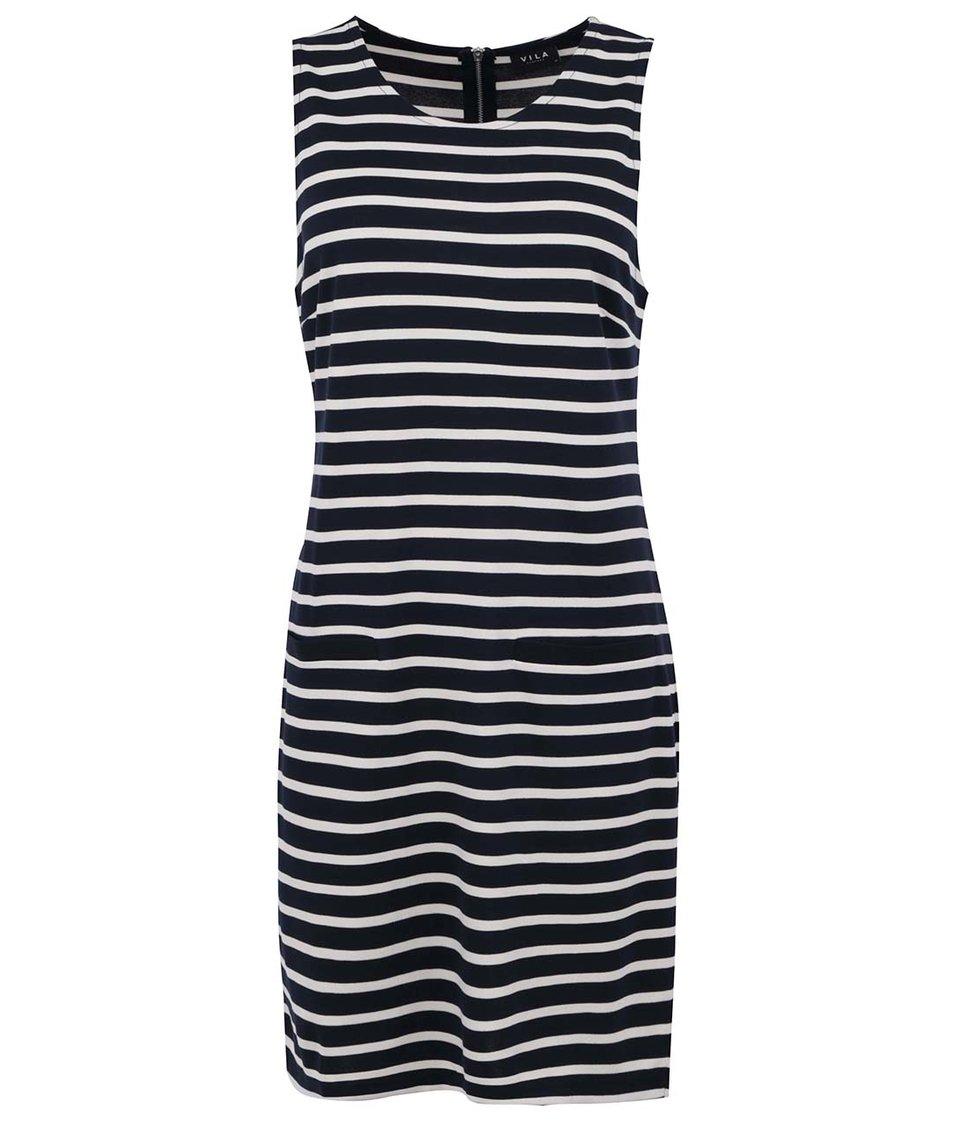 Tmavě modré šaty s pruhy VILA Term