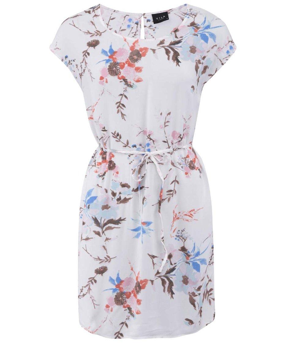 Bílé šaty s květinovým potiskem Visapril VILA Clothes