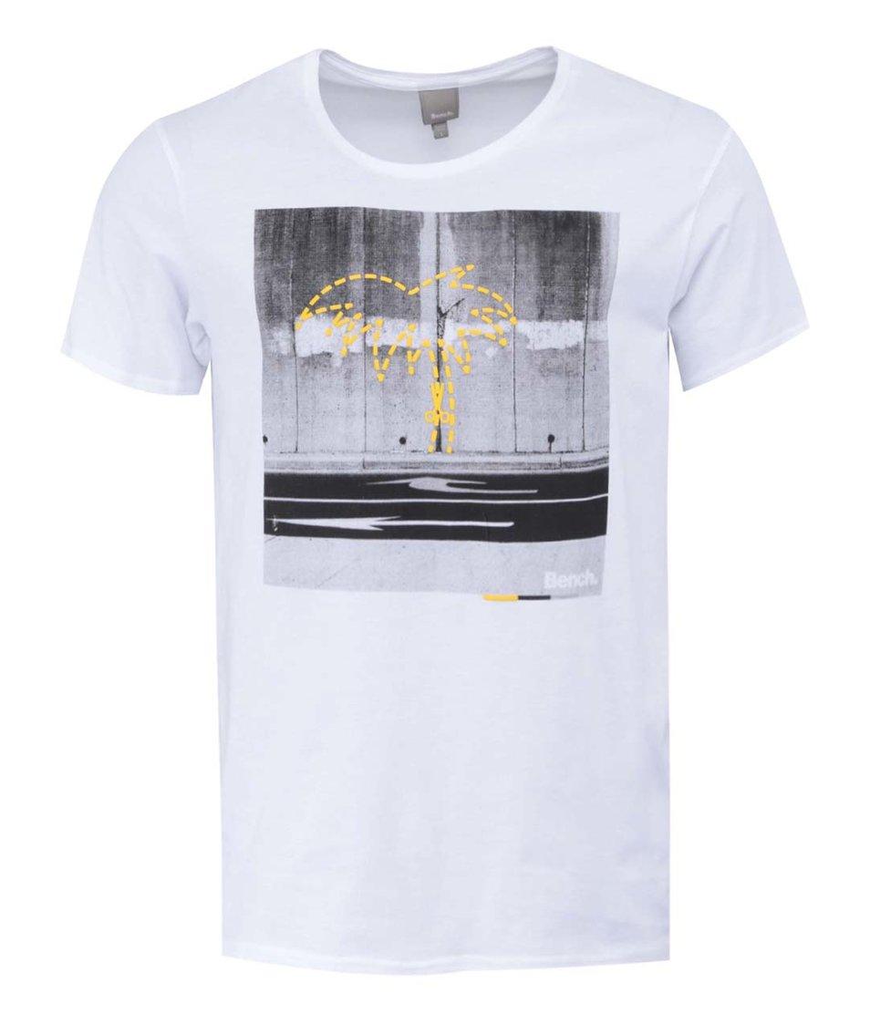 Bílé pánské triko s potiskem Bench Cut Out Palm