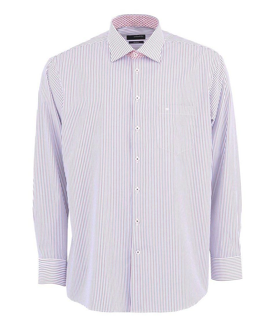 Bílá košile s modro-červenými proužky Seidensticker Regular Fit